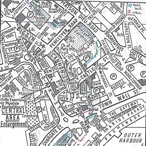 Map of Dover town centre in 1990 showing the course of the Dour and the route the walk takes. Much of the St James area to Wellington Dock has changed since 1990 but the map does give an idea of the route. Service Publications c1990