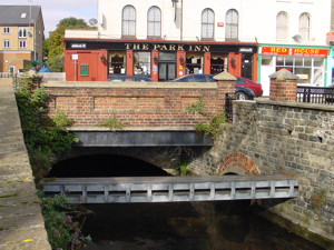 Ladywell/Park Street bridge over Dour, note the older bridge underneath. Alan Sencicle
