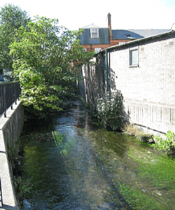 River Dour alongside St James Lane. LS