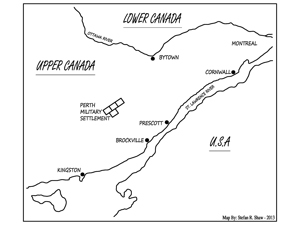 Map showing the location of the Perth Settlement in Upper Canada, to the south is the St Lawrence River, Kingston and the United States of America to the north is Montreal, the Ottowa River and Lower Canada. Stefan R Shaw 2013