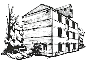 DODS Mill, Temple Ewell purchased 1971 to provide rehearsal rooms, work shop and storage - artists drawing George & Julie Ruck