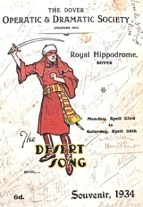The Desert Song at the Hippodrome, Snargate Street. Autographed programmed 1934 George & Julie Ruck