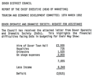 Dover District Council Tourism Committee minutes 10 March 1992 DODS request for financial assistance.