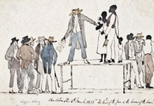 Cartoon of a Slave Market dated 4 March 1833 with the legend 'The Land of the Free and the Home of the Brave'. The Webster-Ashburton Treaty of 1842 agreed to abolish slave markets within their territories. Library & Archives of Canada