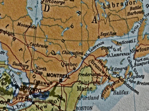 St Lawrence River area of Eastern Canada. Parnells World Atlas 1977