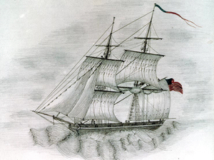 Brig USS Somers, similar in design to the Creole, sketched by a crewmember of USS Columbus (1842). Wikimedia-Commons