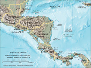 Central America map by the CIA World Factbook 2011. Wikimedia-Commons