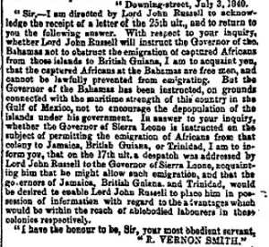 Letter from Robert Vernon Smith on behalf of Home Secretary Lord John Russell on the emigration of former slaves from the Bahamas 3rd July 1840