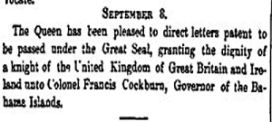 Colonel Francis Cockburn knighted. London Gazette 8 September 1841.