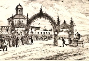 Richmond, Ontario - Return of the Governor General, Canadian Illustrated News 1872. This is the sort of welcome that would have been put on for Earl Richmond when he arrived in August 1819. Library Archives of Canada