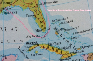 Slave Ships route between the Florida Strait and the Bahamas to New Orleans - Parnell's World Atlas 1977