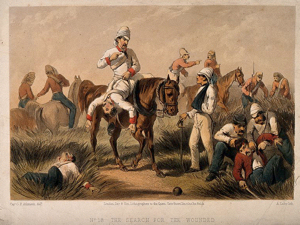British Ambulancemen and soldiers helping the wounded during the Indian uprising. A. Laby after G.F. Atkinson. Wellcome Images