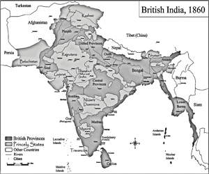 Map of British India in 1860. Wikimedia Commons