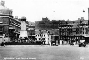Rifles Monument after it had been turned into a roundabout in 1936. Note the design of the keep left signs. Dover Museum