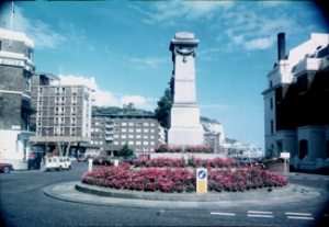 Rifles Monument in 1975 showing the west side (Rohilcund). Note the iconic Dover Stage Coachotel on the left standing on stilts. Dover Museum