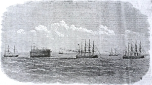 Bermuda Floating Dock passing down the Channel. Illustrated London News 3 July 1869