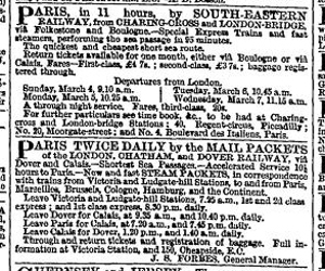 Forbes LCDR advert, without time taken, for the Dover-Calais packet service and the SER advert which includes the length of time. Times 3 March 1866