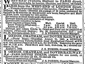 Forbes LCDR advert for the Dover - Calais service August 1862. Times