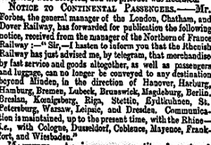 Forbes notice of Continental restrictions due to political reasons. Times 21 June 1866
