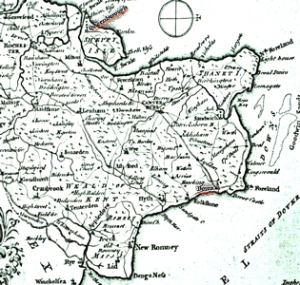 19th century East Kent map showing Dover, Queenborough and the LCDR Railway Line. Dover Museum