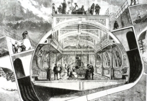 Bessemer showing the 'Swinging Saloon.' Illustrated London News 1875. Tom Robinson
