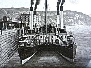 Calais-Douvres I Twin-hulled LCDR paddle steamer launched 1877. Dover Library