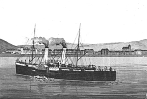 Invicta I Paddle Steamer 1910 launched 5 April 1882. Dover Museum
