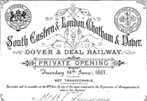 LCDR - SER invitation to the opening of the Dover-Deal Railway 14 June 1881. Dover Museum