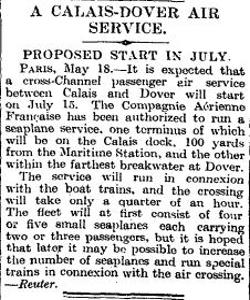 Calais-Dover Air Service. Times 19 May 1928