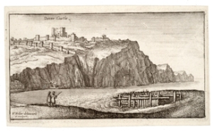 Dover Castle by Wenceslas Hollar (1607-1667). Mote Bulwark is at the foot of what appears to be a cleft below the Castle. wikimedia commons