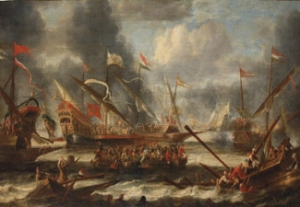 Possibly the Battle of Dover 1652 by Catharina Peeters. Wikimedia Commoons