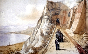 Troops outside the Castle Casemate Barracks . Watercolour by William Burgess, circa 1840. Dover Museum