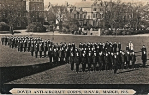 Anti-Aircraft Corps March 1915, Standing Down, Dover College Grounds. Maurice Sayers