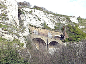 Castle Casemates above Mote Bulwark facing the Seafront. Originally excavated for barracks, during World War II they were the offices of the Commander-in-Chief of Fortress Dover. Alan Sencicle