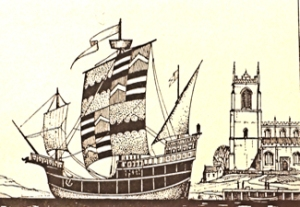15th century Carrack ship. Note the lateen sail at aft end. In 16th century more sails were added. Frank E Dodman