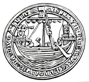 Dover Seal showing a ship with a steerboard on the left side. Dover Library