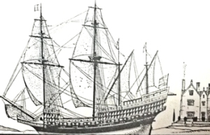 Elizabethan galleon typical of those built in Dover at that time. Frank E Dodman