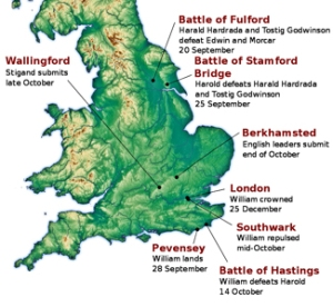 Location of major events during the Norman Conquest of England in 1066, adapted Peter Marren
