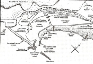Map of Dover harbour 1596 after the Thomas Digges improvements. Alec Hasensen