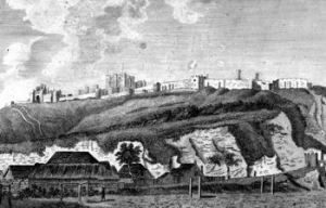 Original Dover Ropewalk on the seashore near the Castle c1780. Dover Museum