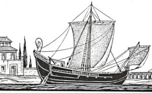 Roman Merchant Ship - 2nd century, note the artemon on the bow and steerboard. Frank E Dodman