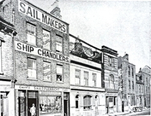 Sailmakers and Ship Chandlers, Sharp and Enright's shop on Commercial Quay in the 1920s. In the following decade they moved to their present Snargate Street premises when Commercial Quay was demolished. Hollingsbee Collection.