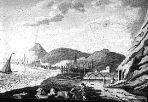 Shipbuilding at East Cliff 1792. Dover Museum