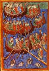 Vikings about to invade from Miscellany on the life of St. Edmund from the 12th century. Wikimedia