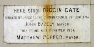 John Bazeley, Mayor 1762 ordered the demolition of the Medieval Biggin Gate. A plaque placed in 1896 can be seen in New Street. Alan Sencicle