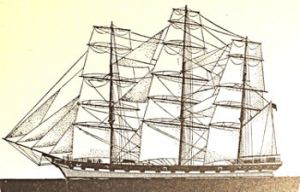 Full Rigged sailing ship of the 18th century of the type built on Dover beaches. Frank E Dodman