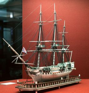 Cesar French Man O'War model made out of bones from the food rations by a French Prisoner of War during the Napoleonic Wars. Dover Museum