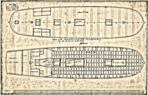 Design of the middle and lower decks of the Incendiary & Tisiphone class fireships in general 1778