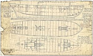 Plans of profile and decks of the Zephyr, built as a packet ship by the King shipyard. National Maritime Museum Greenwich; Admiralty Collection