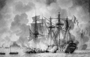 Régulus a 74-gun French ship under attack by British fireships 11 August 1809. Wikipaedia